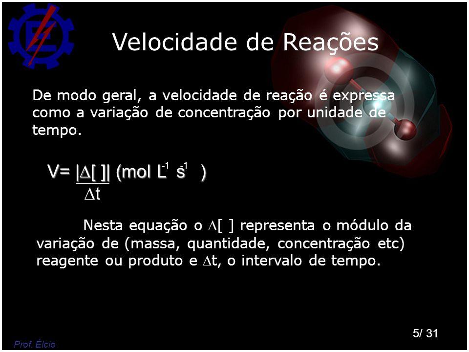 Velocidade de Reações V= |[ ]| (mol L s ) t